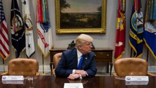 US President Donald Trump speaks to the media during a meeting with congressional leadership at the White House.