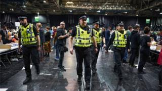 Police at Glasgow count