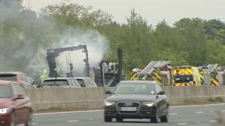 Scene of lorry crash on A1
