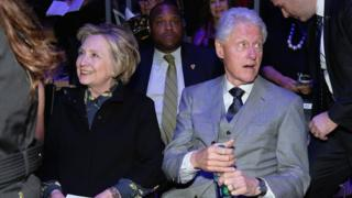 Hillary Clinton and Bill Clinton at a concert in New York City on 25 January 2017