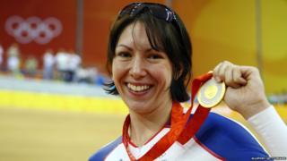 Rebecca Romero with her cycling gold in Beijing 2008