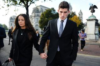 Ched Evans leaves court with his fiancee Natasha Massey