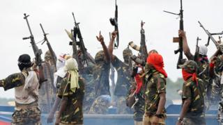 File photo of Mend militants in the Niger Delta