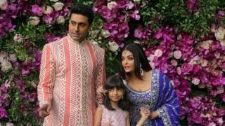 Abhishek, Aaradhya and Aishwarya Bachchan at a wedding