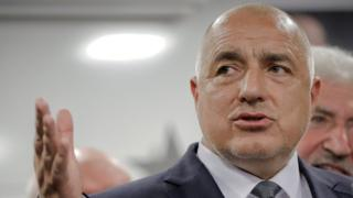 Bulgarian ex-premier Boyko Borisov, leader of the centre-right GERB party, gestures during a statement at the party's headquarters, in Sofia, Bulgaria