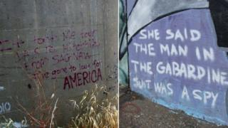 (Graffiti showing: It took me four days to hitchhike from Saginaw / She said the man in the Gabardine suit was a spy)