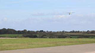 Plane coming into landing at Guernsey Airport
