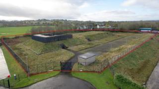 A full view of the outside of bunker in Ballymena