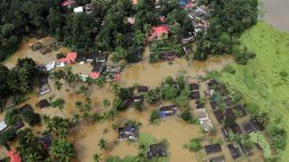Aerial view of partially submerged houses