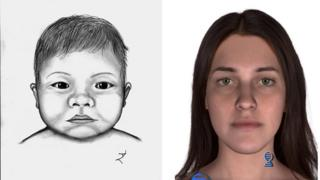 A sketch of the baby and a DNA phenotyped sketch of the baby's possible mother