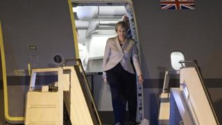 Theresa May steps off her plane at Ezeiza International airport in Buenos Aires, on 29 November 2018