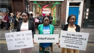 "Protesters outside a ""No Contraceptives"" clinic in Soho, London, to highlight the plight of women who don't have access to the contraceptives, advice and services they need (11 July 2017)"