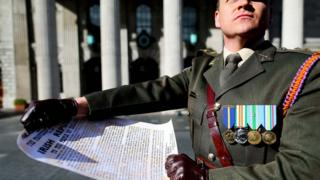 Captain Peter Kelleher reading the Proclamation at the GPO