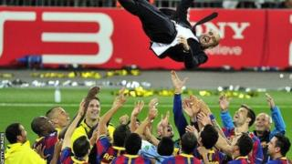 Sau uku Pep Guardiola yana jagorantar Barcelona wajen lashe kofin La Liga, yayin da ya shugabance ta wajen lashe kofin zakarun turai sau biyu
