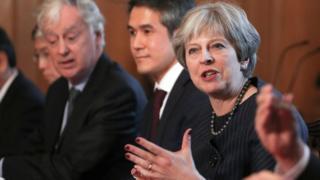 Theresa May at meeting