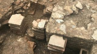 Roman bath house excavation in Chichester