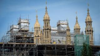 Scaffolding on the Houses of Parliament