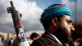 """A Houthi supporter attends a rally to mark the first anniversary of the killing of Saleh al-Sammad, who was the head of Houthi movement""""s Supreme Political Council, by an air strike, in Sanaa, Yemen April 19, 2019."""