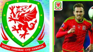 Stickers of the Wales crest and Aaron Ramsey