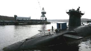 HMS Vanguard moored at the Faslane naval base