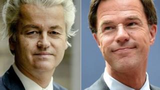 Основна боротьба на виборах розгорнеться між Марком Рютте (праворуч) і Гертом Вілдерсом (ліворуч)