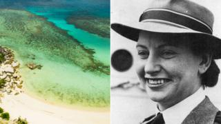 A split image of Vivian Bullwinkel and a beach at Bangka Island, Indonesia