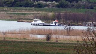 Boat at jetty in Lough Erne