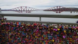 Padlocks on the Forth Road Bridge