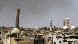 File photo shows the leaning minaret and al-Nouri Mosque in the Old City of Mosul on May 24, 2017