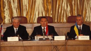 Борис Ельцин, Нурсултан Назарбаев и Леонид Кравчук