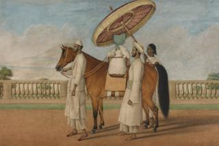 The White House English child seated on a pony and surrounded by three Indian servants, 1830-1850