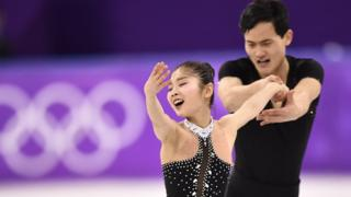 North Korea's Ryom Tae Ok and North Korea's Kim Ju Sik compete in the pair skating free skating of the figure skating event during the Pyeongchang 2018 Winter Olympic Games at the Gangneung Ice Arena in Gangneung on February 15, 2018.