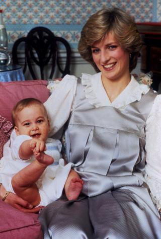 Diana com William ainda bebê
