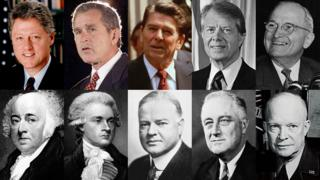 Clockwise from top left: Clinton, Bush, Reagan, Carter, Truman, Eisenhower, FDR, Hoover, Jefferson, Adams