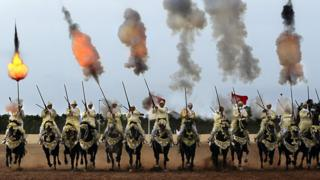 Traditional Moroccan knights fire