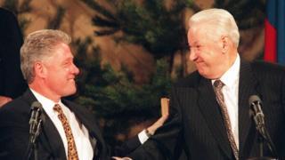 Bill Clinton y Boris Yeltsin 1997.