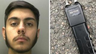 Mohammed Subhan and the stun gun he was found with