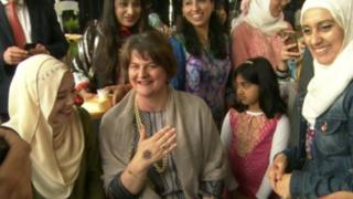 Arlene Foster got a temporary henna tattoo on her hand during the event
