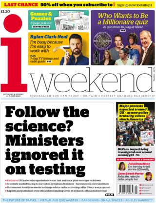 The i weekend front page 6 June