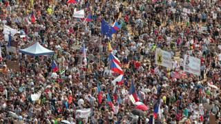 Crowds protest on the streets of Prague