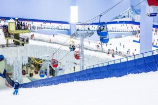 Overview of the ski resort with ski lifts