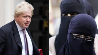 Boris Johnson and a women wearing veils