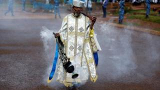 An Ethiopian Orthodox priest blesses the faithful with incense during the Meskel festival in Addis Ababa, Ethiopia - Tuesday 27 September 2016
