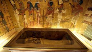 The golden sarcophagus of King Tutankhamun in his burial chamber is seen in the Valley of the Kings, in Luxor, Egypt,