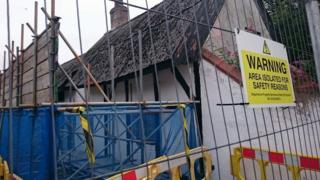 Scaffolding at cottage on Church St, Alvaston