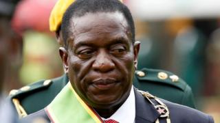 Emmerson Mnangagwa shortly after he was sworn in as Zimbabwe's president in Harare, 24 November 2017