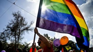 A woman holds a rainbow flag during the Gay Pride Parade in Lisbon on 21 June, 2014