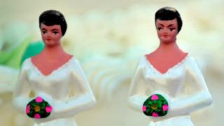 A generic photo of lesbian bride wedding toppers