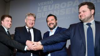 Finns Party member Olli Kotro, spokesman for Alternative for Germany (AfD) Jörg Meuthen, Italy's Interior Minister Matteo Salvini and Danish People's Party politician Anders Primdahl Vistisen unite