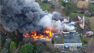 Aerial shot of the fire